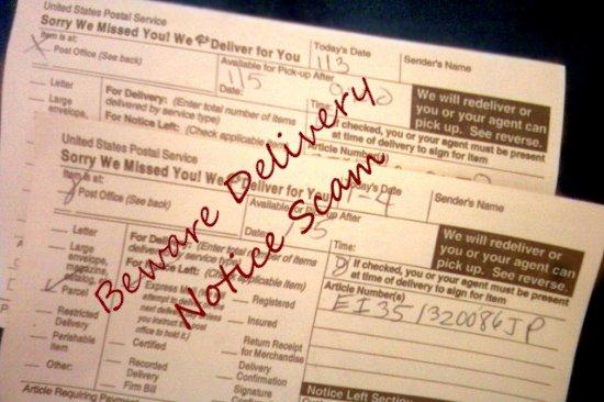 Delivery notice scam