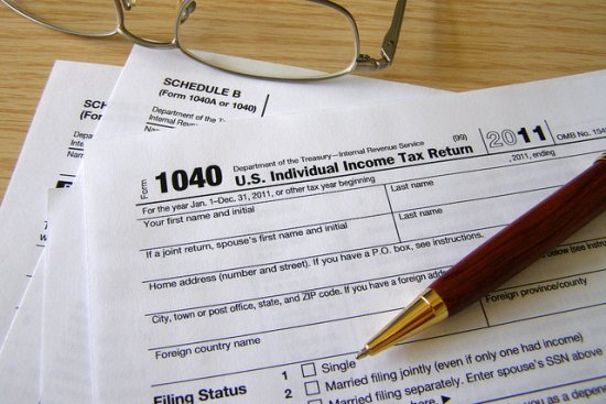 Individual Income Tax forms on tabletop