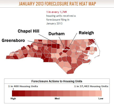 North Carolina Foreclosures - January 2013